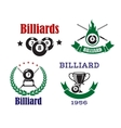 Retro emblems for billiards with cues and balls vector image