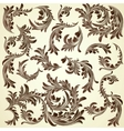 Set of vintage calligraphic floral branches vector image