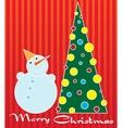 snowman and Christmas tree vector image