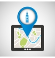 mobile device big ben gps map vector image