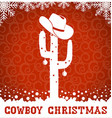 American Cowboy red christmas card with cactus and vector image