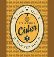 cider label in a frame on the basket vector image vector image