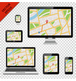 digital devices with gps map on screen vector image