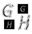 Floral capital letters G and H vector image