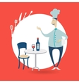 chef standing at the table in a restaurant vector image