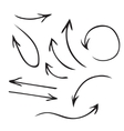 Black arrows hand drawn set vector image