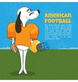 A cartoon dog playing American football Poster vector image