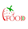 bright colored strawberry into a flat style logo vector image