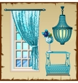 Set for the interior window chandelier and table vector image