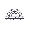 stone oven line icon sign on vector image