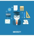 University concept with item icons vector image