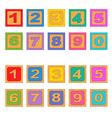 numbers wooden blocks vector image