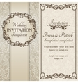 Baroque wedding invitation brown and beige vector image