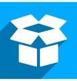 Open Box Flat Square Icon with Long Shadow vector image
