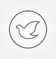 dove outline symbol dark on white background logo vector image