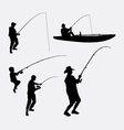 Fishing people silhouette vector image