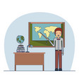 man teacher in formal suit on classroom with desk vector image