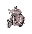 Messenger Riding Vintage Scooter Etching vector image