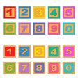 numbers wooden blocks vector image