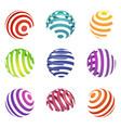 set of abstract spiral logos colorful ball shapes vector image