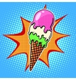 The ice-cream cone with three flavors vector image