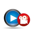 video player button film camera icon graphic vector image