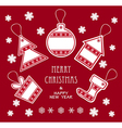 Merry Christmas and New Year labels in red color vector image