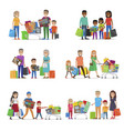 family out on shopping set children and parents vector image