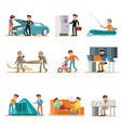 Male characters set vector image