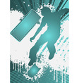 grunge poster template with skateboarder vector image