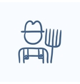 Farmer with pitchfork sketch icon vector image