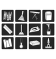Black Home objects and tools icons vector image