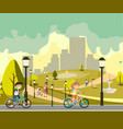 happy little kids in bikes in park vector image