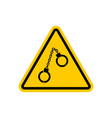 warning police handcuffs on yellow triangle road vector image