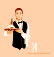 Waiter with a serving tray vector image vector image
