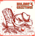 merry christmas and New Year card with cowboy boot vector image