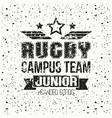 College rugby junior team emblem vector image
