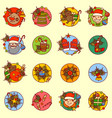 cute new year icons set merry christmas concept vector image