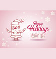happy holidays 2018 banner santa on christmas and vector image
