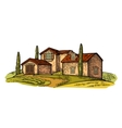 Rural landscape with villa field tree and farm vector image