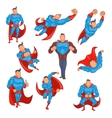 Superhero icons set in cartoon style vector image