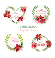 Christmas Poinsettia Flowers Banners and Tags vector image