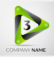 number three logo symbol in the colorful triangle vector image