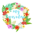 Beautiful floral jungle frame wreath vector image