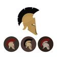 Set of four antique helmets vector image