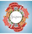 Jaipur Skyline with Color Landmarks vector image