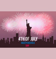 statue of liberty and fireworks on night city vector image