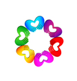 Teamwork Hands doing a heart colorful logo vector image