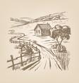 hand drawn village vector image