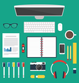 Set of office and business work elements vector image vector image